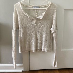 Cream/off-white Henley style sweater